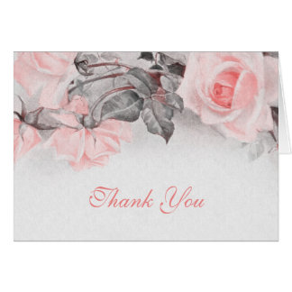 Vintage Blush Pink Rose Wedding Thank You Card