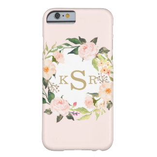 Vintage Blush Pink Roses Floral Wreath Monogrammed Barely There iPhone 6 Case