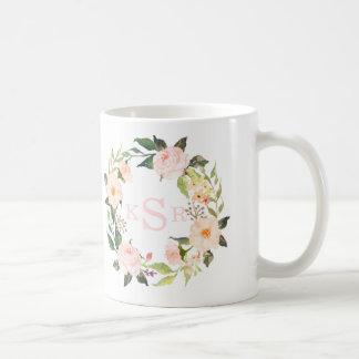 Vintage Blush Pink Roses Floral Wreath Monogrammed Coffee Mug