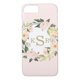 Vintage Blush Pink Roses Floral Wreath Monogrammed iPhone 7 Case