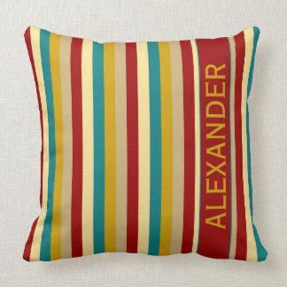 Vintage Board Game Palette Stripes Personalized Throw Pillow