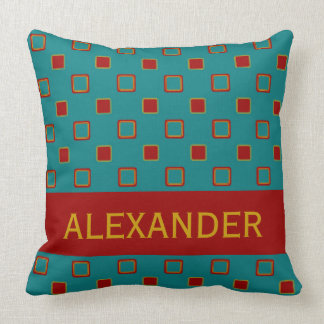 Vintage Board Game Tiles on Blue Personalized Throw Pillow
