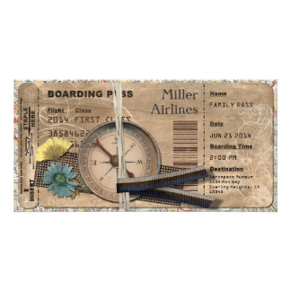 Vintage Boarding Pass Invitation Picture Card