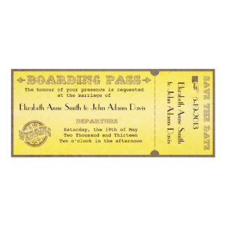 Vintage Boarding Pass Wedding Invitation
