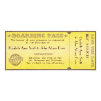 Vintage Boarding Pass Wedding Invitation 4&quot; X 9.25&quot; Invitation Card (<em>$2.46</em>)