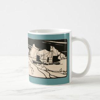Vintage Boat Arctic Travel Ice Penguins Graphic Coffee Mug
