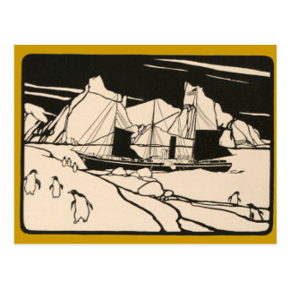 Vintage Boat Arctic Travel Ice Penguins Graphic Postcards