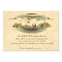 Vintage Boat Lovers Wedding Invitation