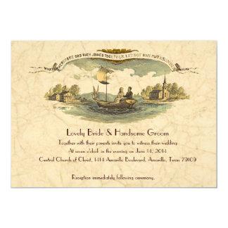 Vintage Boat Lovers Wedding Invitation