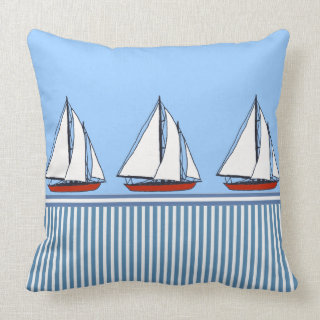 vintage boats nautical stripes cushion pillows