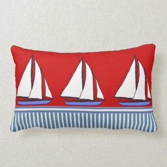 vintage boats nautical stripes cushion pillows red