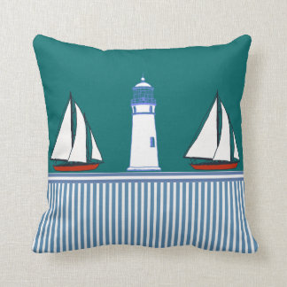 vintage boats nautical stripes lighthouse pillow