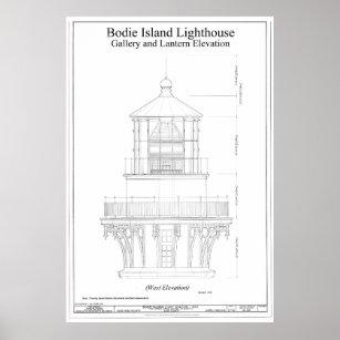 Lighthouse blueprint posters zazzle vintage bodie island lighthouse blueprint poster malvernweather Choice Image