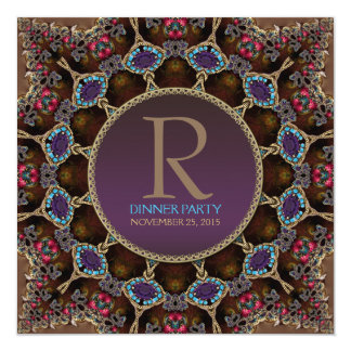 "Vintage Bohemian Dinner Party Monogram Invitation 5.25"" Square Invitation Card"