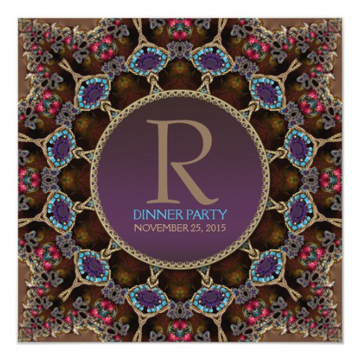 Vintage Bohemian Dinner Party Monogram Invitation