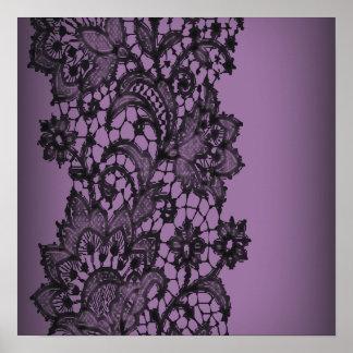 vintage bohemian royal purple black lace poster