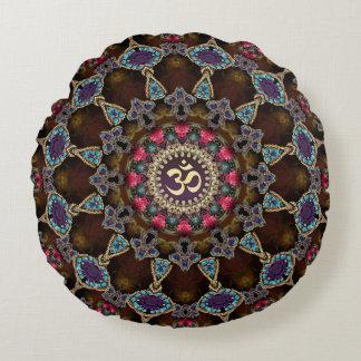 Vintage Bohemian Spiritual OM Yoga Round Cushion