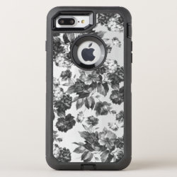 Vintage bohemian stylish black white roses floral OtterBox defender iPhone 7 plus case