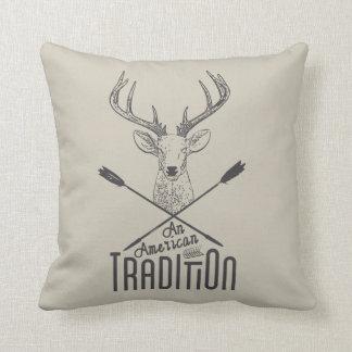 Vintage Boho Deer on Burlap Color Pillow