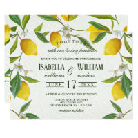 Vintage Boho Lemon Branch Wedding Invitation