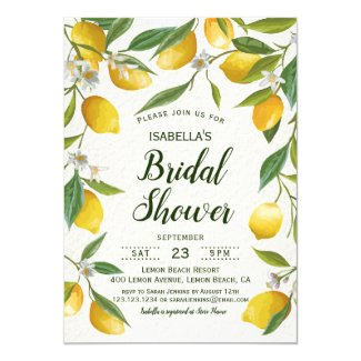 Vintage Boho Lemon Brunch Summer Bridal Shower Invitation