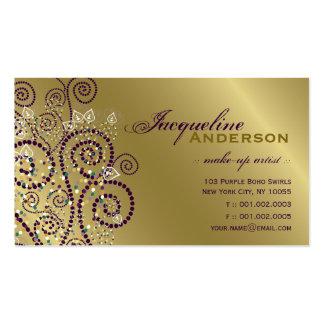 Vintage Boho Purple Spirals Golden Profile Card Business Card