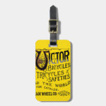 Vintage Bold Orange Victor Bicycles Winged Tire Ad Bag Tag