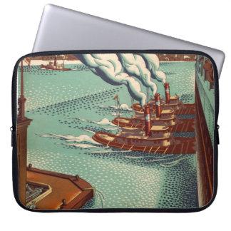 Vintage Bold Tug Boat Ernest Hamlin Baker Nautical Computer Sleeve