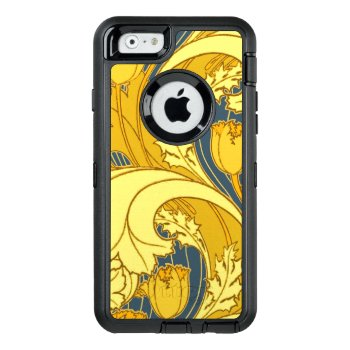 Vintage Bold Tulip Blue Gold Artwork Wallpaper Otterbox Defender Iphone Case by vintagechicdesign at Zazzle