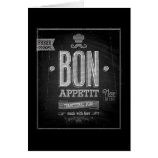 Vintage Bon Appetit Poster - Chalkboard Card
