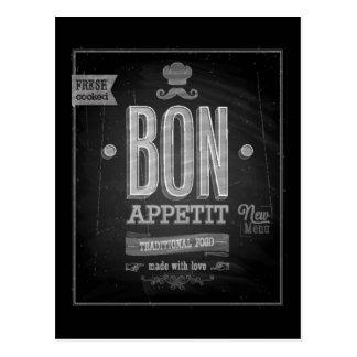 Vintage Bon Appetit Poster - Chalkboard Postcard