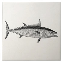 Vintage Bonito Fish - Aquatic Fishes Template Tile