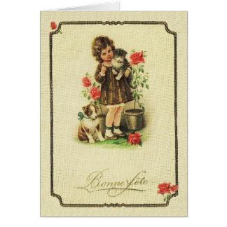 Vintage Bonne fête French Birthday Card