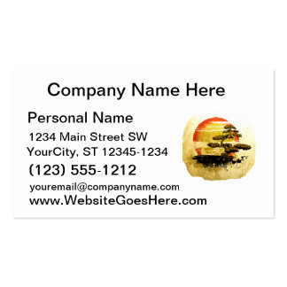 Vintage Bonsai Graphic Grunge Look with Sun Double-Sided Standard Business Cards (Pack Of 100)