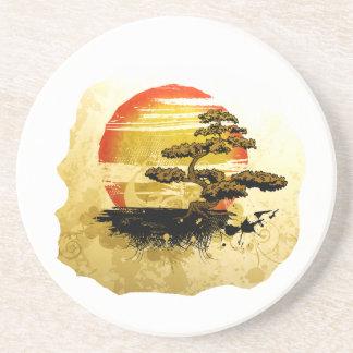 Vintage bonsai tree graphic in sepia tones beverage coasters