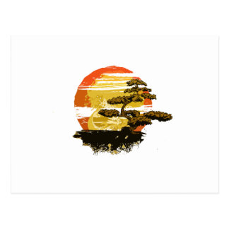 Vintage bonsai tree graphic in sepia tones no back postcard