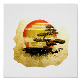 Vintage bonsai tree graphic in sepia tones poster