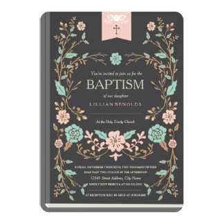Vintage Book Baptism Card