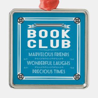 Vintage Book Club Square Metal Christmas Ornament