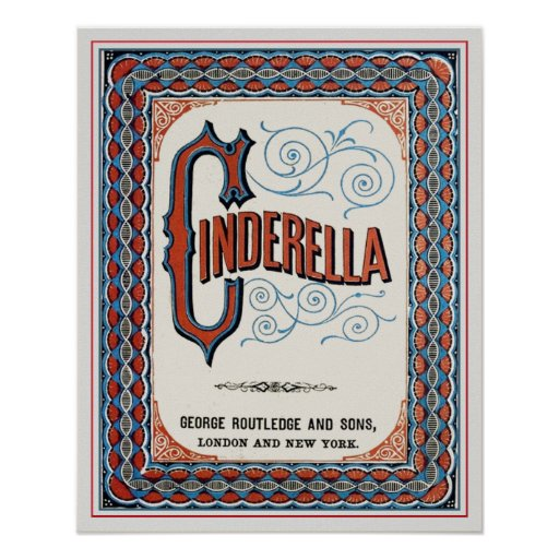 Old Book Cover Posters : Vintage book cover cinderella poster zazzle