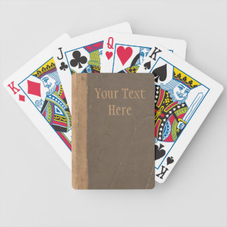 Vintage book cover, retro faux leather bound bicycle playing cards