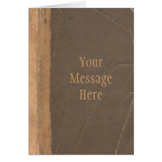 Vintage book cover, retro faux leather bound card