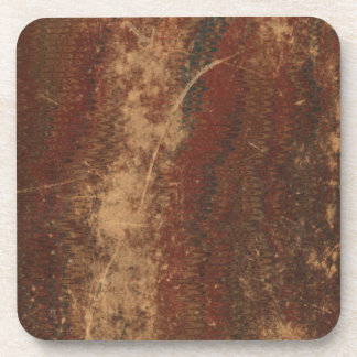 Vintage book cover, retro faux leather bound drink coaster