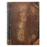 Vintage book cover, retro faux leather bound spiral notebooks