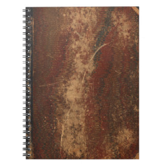 Vintage book cover, retro faux leather bound spiral notebook