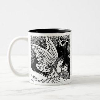 Vintage Book Illustration Fairy Mom Sprite Gift Two-Tone Coffee Mug