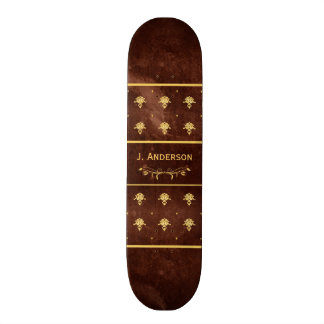 Vintage Book Leather Brown and Gold Damask Pattern Skateboard Decks