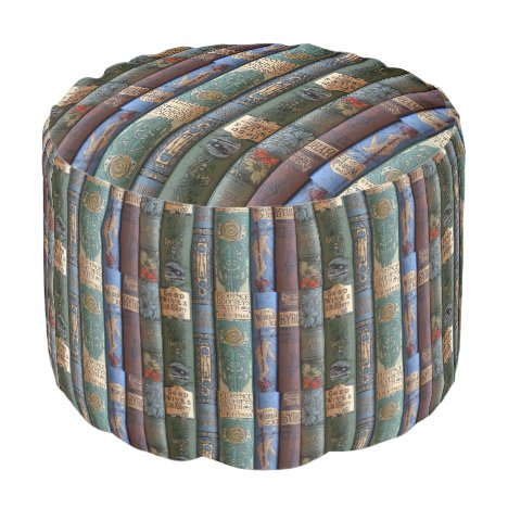 Vintage Book Library Collection Pouf