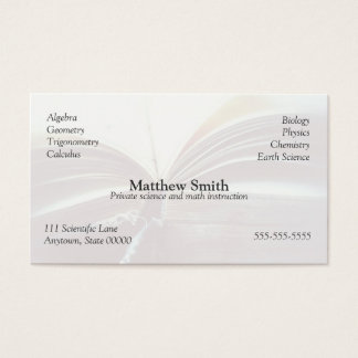 vintage book open fade business card