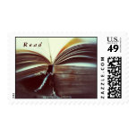 vintage book open stamp
